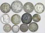 World Coins - Europe. Lot of 12 Old Silver coins. struck in XVII-XIXc, VG to VF, cheap.