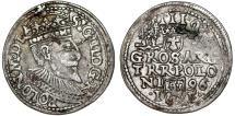 World Coins - Poland. Rzeczypospolita. Olkusz. king Sigismund III. AR 3 Gross 1596. Toned XF