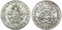 World Coins - Argentina. Province of La Rioja. Silver 4 Reales 1850 RB. Nice Choice VF