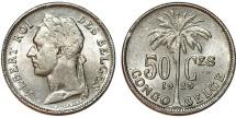Belgian Congo. Albert I. CuNi 50 Cents 1929/8. Choice XF/AU