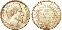 France. Napoleon III. Gold 20 Francs 1856 A. XF, ETUI