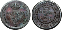 World Coins - Spain Isabel II. CU 1/10 Real 1853. Very Nice Choice VF