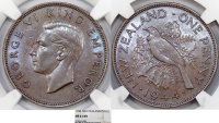 New Zealand. George VI. AE 1 Penny 1944. NGC MS61