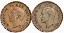South Africa. Lot of 2 Coins:  1 Penny 1940, 1945. XF+/AU