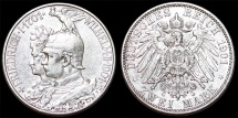 World Coins - Germany. Kingdom of Prussia. king Wilhelm II (1888-1918) Silver 2 Mark 1901. Choice XF