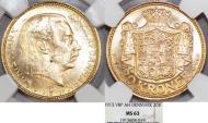 World Coins - Denmark. Christian X (1912-1947). Gold 20 Kroner 1913 VBP. NGC MS63