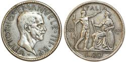 World Coins - Kingdom of Italy. Victor Emanuelle III. Silver 20 Lire 1928 R. Nice Choice VF