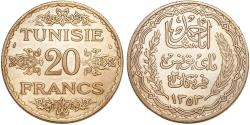 World Coins - Tunisia. Ahmad Pasha Bey. Very Nice Silver 20 Francs AH1253 (AD1934). Choice AU