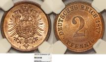 World Coins - Germany. Imperial Issue. Prussia. Wilhelm I. Cu 2 Pfennig 1877A. NGC MS64RB