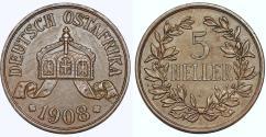 World Coins - Germany East Africa. Wihelm II. AE 5 Heller 1908J. XF details