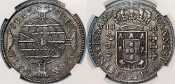 World Coins - Brazil (Bahia mint), 960 reis 1820B, Joao VI, 1814-B, struck over a Madrid, Spain, bust 8 Reales of Charles IV. NGC AU