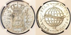 World Coins - Brazil. Joanes as Prince Regent (1799-1816). AR 960 Reis 1811 R struck on 8 Reales from Bolivia. NGC UNC details