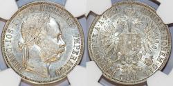 World Coins - Austian Empire. Franc Josef I (1848-1916). AR Florin 1884. NGC AU58