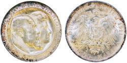 World Coins - Germany. Wuerttemberg. Wilhelm II. Commemorative AR 3 Mark 1911. NGC MS65!