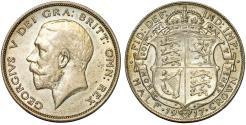 World Coins - Great Britain. king George V. AR Half Crown 1917. Choice AU, toned
