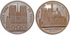 World Coins - France. Second Empire Period. Notre Dame de Paris AE Medal 1855 by Wiener. Nice