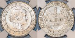 World Coins - Brazil. Republic. AR 2000 Reis 1929 R. NGC MS64
