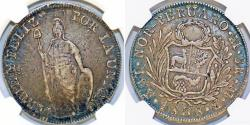 World Coins - Peru. (North Peru) Republic. AR 8 Reales 1838 MB. NGC XF40, nicely toned.
