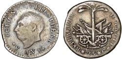 World Coins - HAITI, République d'Haïti (Western). Alexandre Petion as President (1806-1818) AR 25 Centimos AN14 (1817). Nice VF