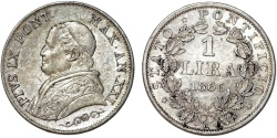 World Coins - Italy. Papal State. Rome. Pope Pius IX (1846-1878). AR 1 Lira 1866. AU.