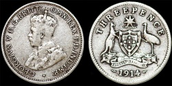 World Coins - British Commonwealth Australia. AR 3 Pence 1914. Fine, scarce date