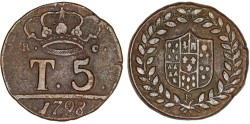 World Coins - Italy. Kingdom of Naples. Ferdinand IV Bourbon (1759-1799). AE 5 Tornesi 1798. Nice XF