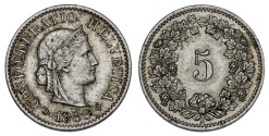 World Coins - Switzerland. CU 5 Rappen 1888. XF