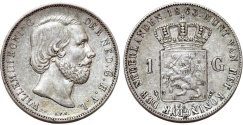 World Coins - Netherlands. king Wilhelm III (1849-1890). Silver 1 Gulden 1863. XF, lightly toned.