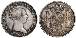 World Coins - Spain. Isabel II. Silver 10 Reales 1854 S. Choice AU, toned