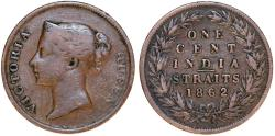 World Coins - Straits Settlements. India Straits issue. Victoria. CU 1 Cent 1862. Fine+, scarce
