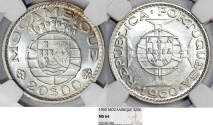 World Coins - Mozambique as Portuguese Colony. Silver 20 Escudos 1960. NGC MS64