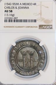 World Coins - Mexico. Carlos & Joanna 4 Reales ND (1542-55) M-A. NGC AU58, toned, RARE!