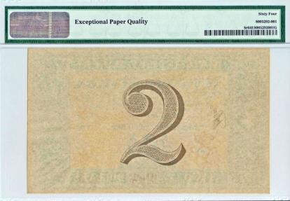 World Coins - Danish West Indies. State Treasury Note. 2 Dollars 1898. PMG 64 EPQ!