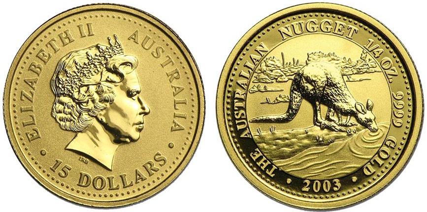 World Coins - Australia 1/10 oz Gold Nugget 2003. Choice BU