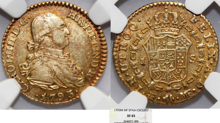 World Coins - Spain. Carlos III (1759-1788). Gold  Escudo 1786 M-MF. NGC XF45.