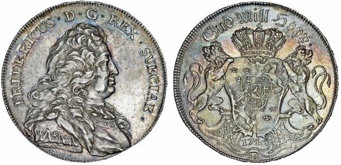 World Coins - Sweden. King Fredrik I (1720-1751). Scarce AR Riksdaler 1746 HM. Choice XF/AU, toned