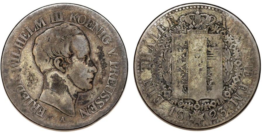 World Coins - Germany: Brandenburg-Preussen. Friedrich Wilhelm III (1797-1840) AR Taler 1823A. Fine, toned.