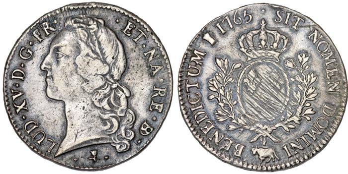 World Coins - France. King Louis XV, 1715-1774. Silver ECU 1765 Q. Nice VF, scarce.