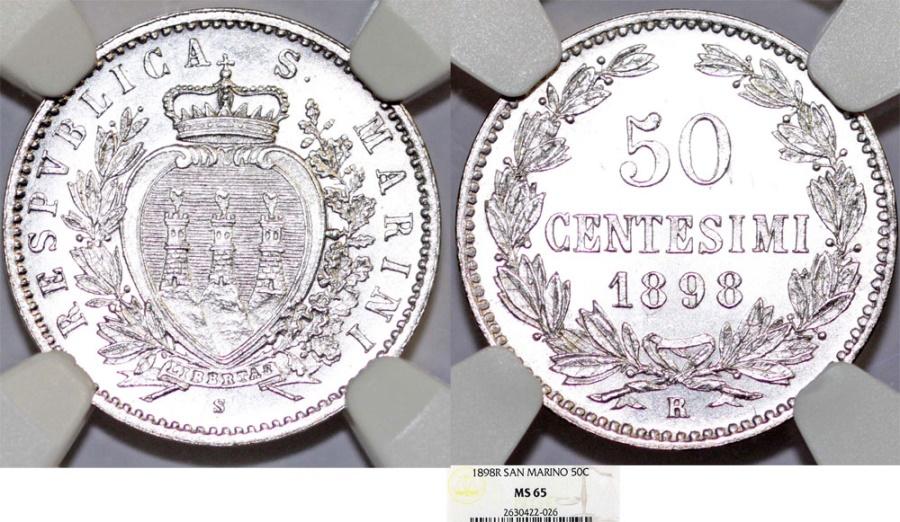World Coins - San Marino. Republic. AR 50 Centisimi 1898R. NGC MS65, Choice BU!