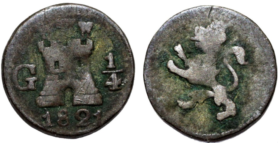 World Coins - Guatemala. Ferdinand VII. AR 1/4 Real 1821-G. aVF