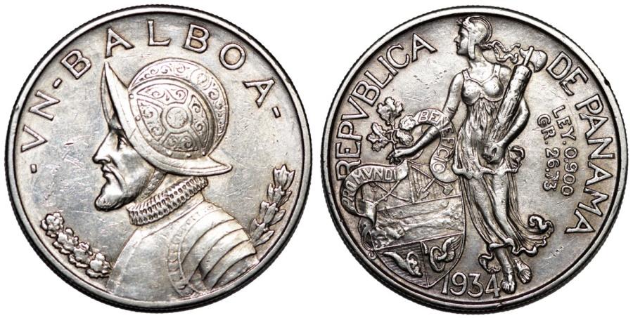 World Coins - Republic of Panama. AR 1 Balboa 1934, XF