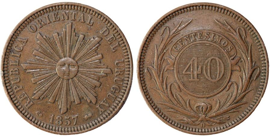 World Coins - Uruguay. Repulic. CU 40 Centesimos 1857D. Choice XF