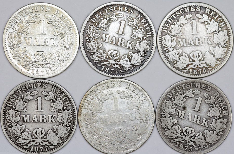 Germany: Lot of 6 Coins: Imperial Mark 1874 -1877  Fine-VF+