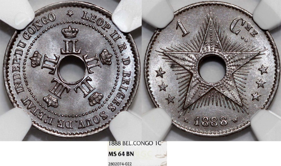World Coins - Congo. Royal Dominion of Belgium Crown. Leopold II. CU 1 Centime 1888. NGC MS64 BN