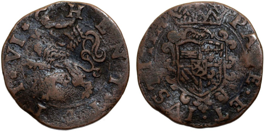World Coins - Spanish Netherlands. Flanders. City of Ghent rebelled against Philip II (1581-1584).  Cu Druit (6 Mites) 1581. Fine+
