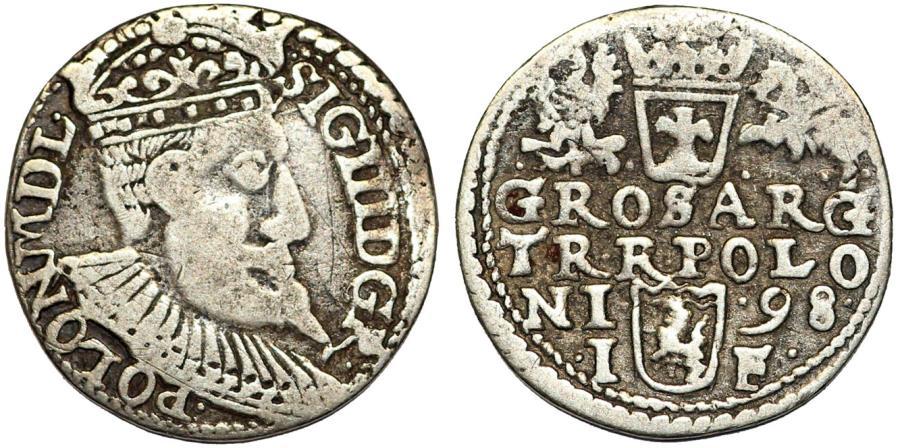 World Coins - Poland. Rzeczypospolita. Olkusz. king Sigismund III. AR 3 Gross 1598, Fine+.