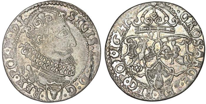 World Coins - Poland. Krakow. Sigismund III (1587-1632). Silver 6 Groschen 1627. Choice XF, Scarce Grade.