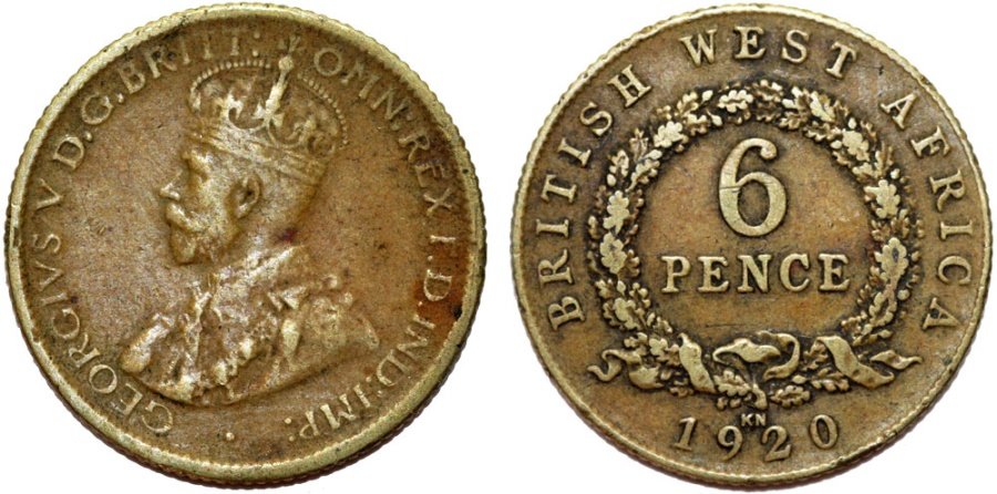 World Coins - British West Africa. 6 Pence 1920 KN. Nice VF