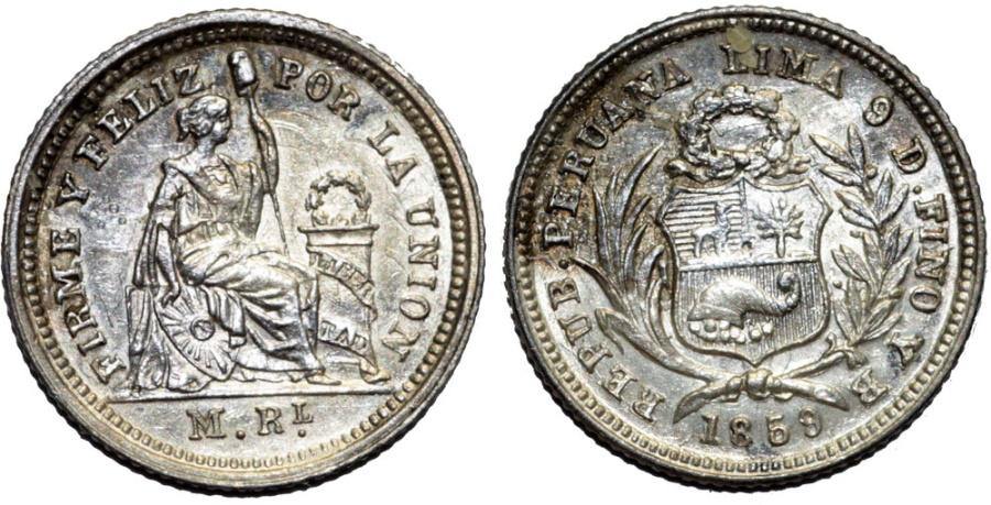 World Coins - Peru. Republic. Silver 1/2 Real 1859 YB. Choice UNC