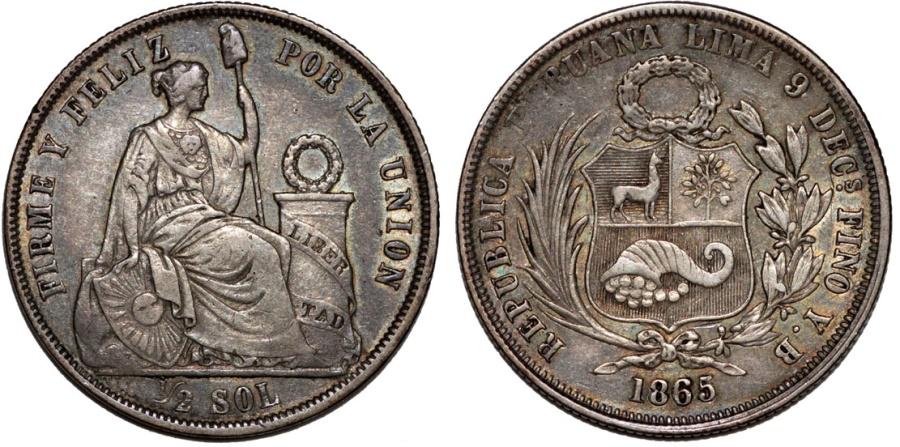 World Coins - Peru. Republic. AR 1/2 Sol 1865/55 Y.B. Nice Choice XF